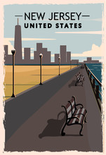 New Jersey Retro Poster. USA New Jersey Travel Illustration. United States Of America Greeting Card.
