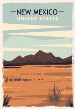 New Mexico Retro Poster. USA N...
