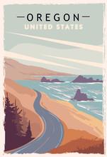 Oregon Retro Poster. USA Oregon Travel Illustration. United States Of America Greeting Card.