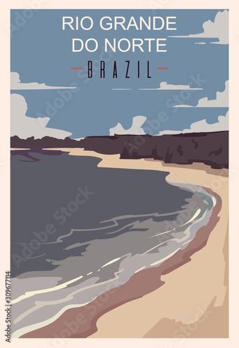Photo Rio Grande Do Norte retro poster, travel illustration