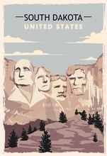 South Dakota Retro Poster. USA...