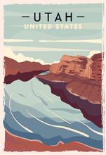 Utah Retro Poster. USA Utah Travel Illustration. United States Of America Greeting