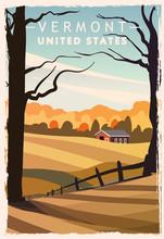 Vermont Retro Poster. USA Verm...