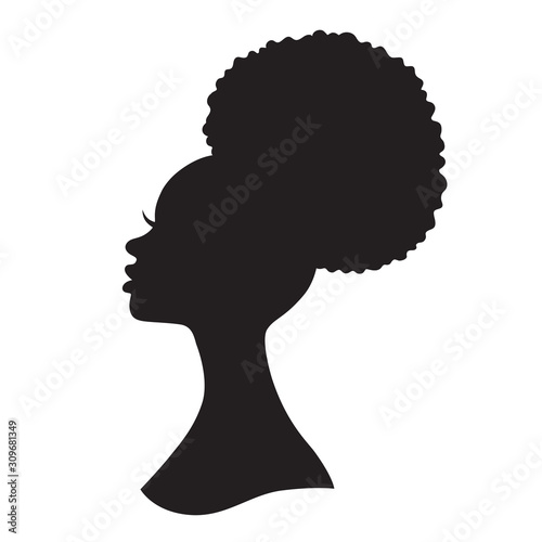 Black woman with puff drawstring ponytail silhouette. Vector illustration of African American woman profile with afro ponytail hairstyle. #309681349