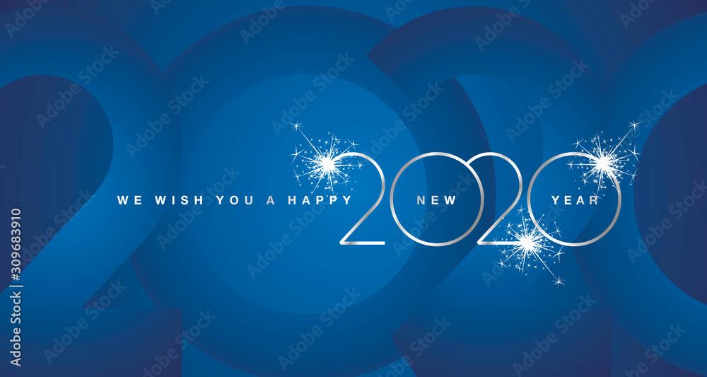 We wish You Happy New Year 2020 firework silver modern design light typography numbers blue greeting card <span>plik: #309683910 | autor: simbos</span>