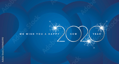 We wish You Happy New Year 2020 firework silver modern design light typography numbers blue greeting card - 309683910