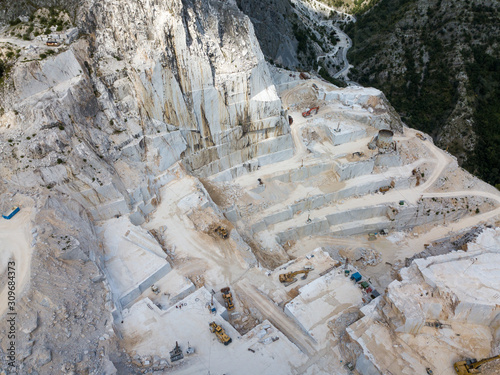 High mountain stone and marble quarries in the Apennines in Tuscany,  Carrara Italy Canvas Print