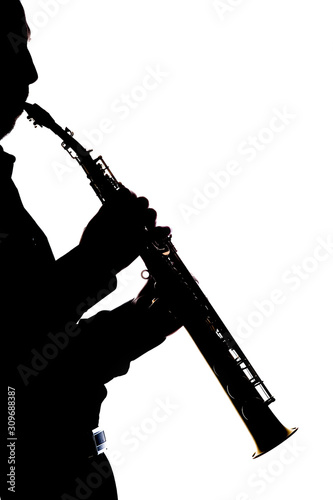 saxafon on a white background in the hands of a musician silhouette Wallpaper Mural