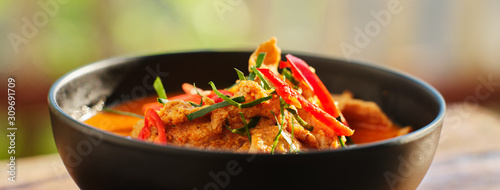 thai panang curry in bowl with pork Canvas Print
