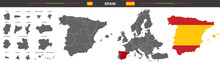 Vector Map Of Spain With Borde...
