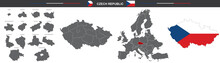 Political Map Of Czech Republic On White Background