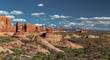 Distant view in Arches National Park of La Sal Mountains