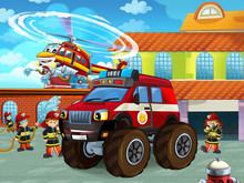 Cartoon Scene With Fireman Car...