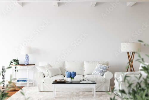 Fototapeta Wall mockup. Coastal Scandinavian interior style. 3d rendering, 3d illustration obraz
