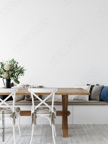 Obraz Wall mockup. Coastal Scandinavian interior style. 3d rendering, 3d illustration - fototapety do salonu