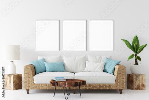 Obraz Frame mockup. Coastal Scandinavian interior style. 3d rendering, 3d illustration - fototapety do salonu