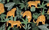Safari tło z lamparta, dłoni, liści. Wektor ilustracja wzór tła, tapety, frabic. Element edytowalny - 309712593