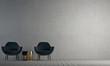Leinwanddruck Bild - Modern lounge interior design of living room and concrete wall texture background