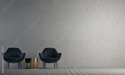 Obraz Modern lounge interior design of living room and concrete wall texture background  - fototapety do salonu