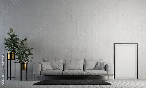 Obraz Modern interior design of white living room and concrete wall texture background  - fototapety do salonu