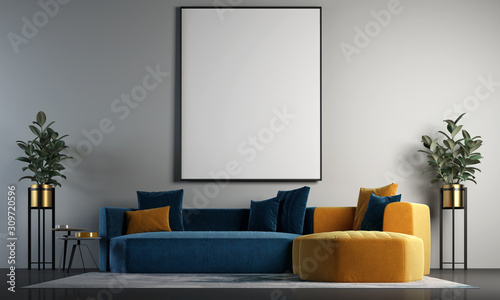 Fototapeta Modern interior design of living room and concrete wall and picture frametexture background  obraz