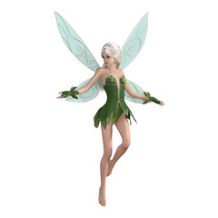 Beautiful fairy isolated on white, 3d render.