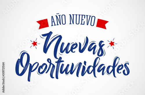 Ano Nuevo Nuevas Oportunidades, New Year New Opportunities Spanish Text Vector Design Canvas Print