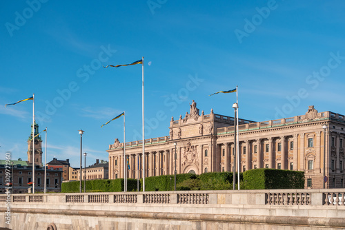 Photo View of Parliament House in Stockholm in the morning at summer day