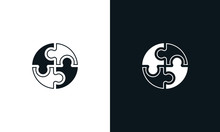 Minimalist Line Art Puzzle Logo. This Logo Icon Incorporate With Four Abstract Shape In The Creative Way.