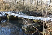 A Small Wooden Bridge Is Cover...