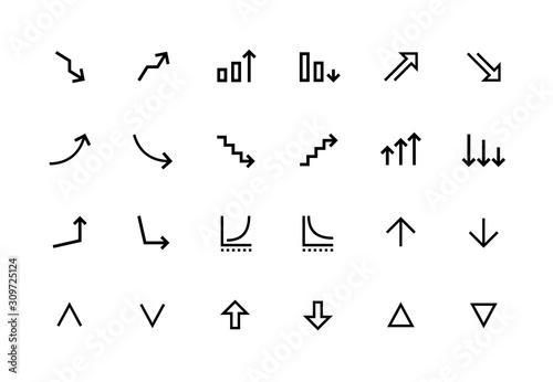 Increase and decrease line icons Obraz na płótnie