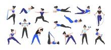 Fitness Workout. Cartoon Woman...