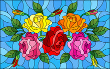 Illustration In Stained Glass Style With Flowers, Buds And Leaves Of  Roses On A Blue Background