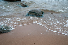Lahemaa National Park Estonia,  Water Rushing Around Rock On Beach