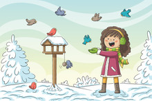 Girl Feeds Birds In Winter. Ha...