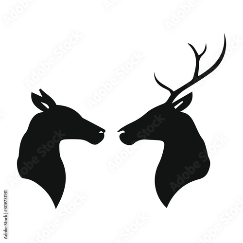 Silhouette of deer and doe Fotobehang
