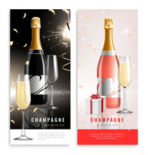 Champagne Vertical Realistic Banner Set