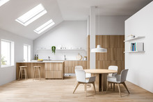 Attic White Kitchen With Bar And Dining Table