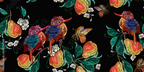 obraz PCV Embroidery tropical birds and pear fruits leaves. Botanical illustration. Horizontal seamless pattern. Fashion clothes template, t-shirt design
