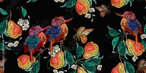 fototapeta na lodówkę Embroidery tropical birds and pear fruits leaves. Botanical illustration. Horizontal seamless pattern. Fashion clothes template, t-shirt design