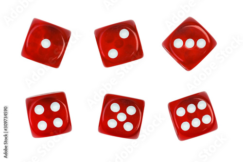 Foto Set of red dice isolated