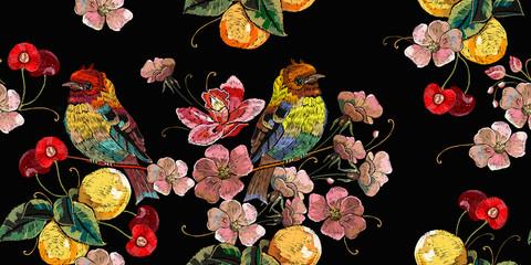 FototapetaBlossom cherry flowers, birds and lemons. Horizontal seamless pattern. Fashion clothes template, t-shirt design