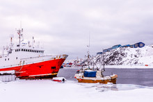 Red Fishing Boat Anchored In T...
