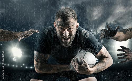 Obraz na plátně Rugby football player in action