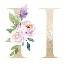 Floral Alphabet, Gold Letter H...