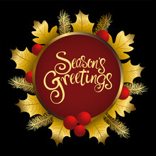 Season's Greetings Text With Decorative Gold Leaves
