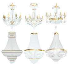 Illustration Of A Set Of Chandelier Lamps Fixtures With Crystal Pendants On A White Background