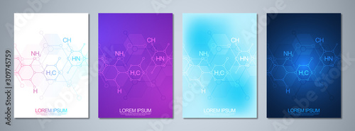 Fotografía  Set of template brochure or cover design, book, flyer with abstract chemistry background and chemical formulas