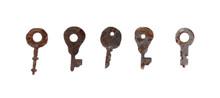 Vintage Rusty Keys On A White ...