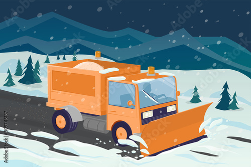 cartoon illustration of a snow plow clearing the street Canvas Print